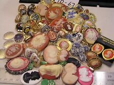 Huge Lot Vtg Cameo Jewelry Brooch Ring Pin Locket Clip on Earrings some craft Lb