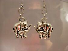Handmade Silver Elephant Dangle HOOK Earrings Alabama Roll Tide/Jewelry/Women