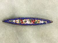 1950s Vintage Micro Mosaic Brooch Floral Ceramic Italian Italy Blue White