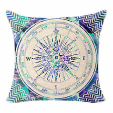 Blue Compass Retro Design Linen Square Pillow Cushion Cover.