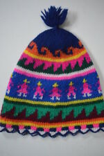 Vintage Childs 70s Peruvian Inca Hand Knitted 100% Wool Hat - Dead Stock