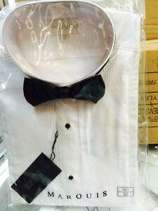 Marquis Men's Cotton Blend Regular Fit Tuxedo Button Down Shirt White size 15.5