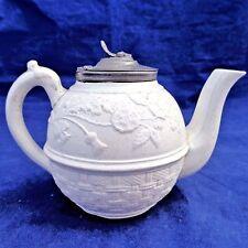 Antique Salt Glazed Stoneware Child's Teapot 1883 Union Pattern Nursery Ware