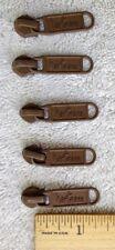 """set of 5 """"hartmann, h"""" light brown metal zipper pulls with """"YKK,5C"""" slider heads"""