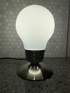 LIGHT BULB DESK LAMP | BRUSHED NICKEL COLOR WITH GLASS SHADE | RETRO MODERN
