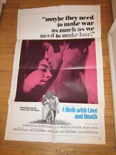 WALK WITH LOVE & DEATH original 1969 poster John & Angelica Houston