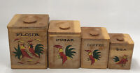 Vintage Wooden Nesting Kitchen Canister Set Hand-Painted Roosters Farmhouse AA