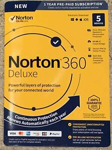 Norton 360 Deluxe 5 Dev 1 Year New - PC, IOS, MAC, Android +50GB - DOWNLOAD