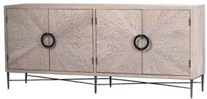 "79"" W Isauro Sideboard Hand Forged Iron Base Solid Pine Sunburst Pattern Doors"