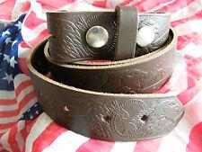 NEW Brown Leather Western Snap on Belt Eagle, Width 40mm  SIZES XXL, XXXL, XXXXL