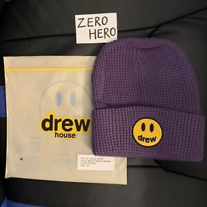 Drew house Justin Bieber mascot waffle beanie new purple hat Authentic