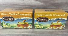 2 BOXES CELESTIAL SEASONINGS Honey Vanilla Chamomile Herbal Tea 20 Tea Bags