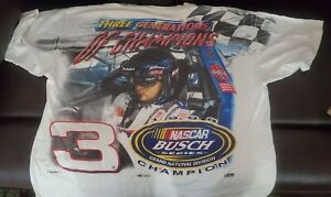 VINTAGE DALE EARNHARDT JR XL ALL OVER PRINT T-SHIRT BUSCH SERIES CHAMPION