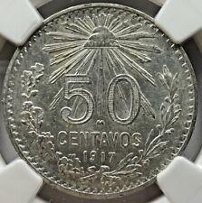 1917 Mexico 50 centavos NGC MS 62 .800 30mm KM 445 (M694)