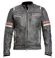 Men's Vintage Retro 2 Distressed 100% Black Real Leather Cafe Racer Jacket