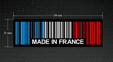 2 x MADE IN FRANCE BAR CODE Stickers/Decals with a Black Background - EURO - DUB