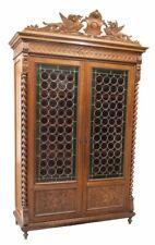 Antique Bookcase, French Henri II Style Leaded Bullseye Glass,1800s, Gorgeous!