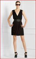 BCBG MAX AZRIA MYRNA  Black Sleeveless Draped V Neck Dress Sz M
