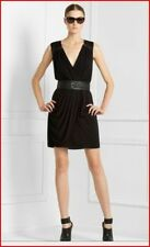 BCBG MAX AZRIA MYRNA  Black Sleeveless Draped V Neck Dress Sz M