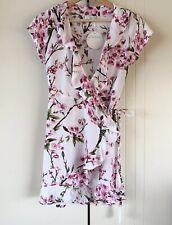 Womens Dreamers & Drifters Cherry Blossom Print On White Mini Wrap Dress Size M