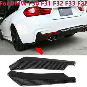 For BMW F22 F30 F31 F32 F33 Carbon Fiber Rear Bumper Splitter Diffuser Canards