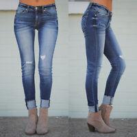 Womens Stretch Skinny Denim Jeans Slim Jeggings  Pencil Pants Trousers Plus Size