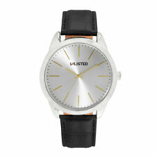 Unlisted Kenneth Cole Men's Analog Black Leather Band Watch UL77820