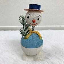 Vintage Rare Paper Mache Nodder Snowman Candy Christmas Container Plaid Hat