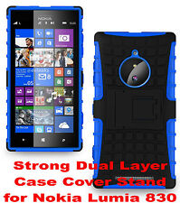 Blue Strong Tough Durable Tradesman TPU Case Cover Stand for Nokia Lumia 830