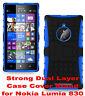 Blue Strong Tough Durable Tradesman TPU Case Cover Stand for Nokia Lumia 830