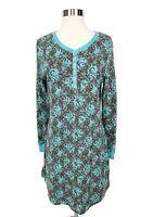 SAHALIE Womens Long Sleeve Thermal Waffle Knit Dress Blue Brown Floral Sz M
