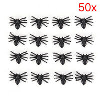 50pcs Small Plastic Fake Spider Toys Novelty Halloween Decorative Spiders HGUK