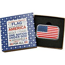 Enameled American Flag 1oz .999 Fine Silver Bar (Pledge box)