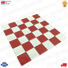 30 x 30 cm GLASS MOSAIC WALL TILES SHEET RED & WHITE CHECKERED PATTERN (1 PC)