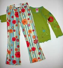 NWT LIPSTIK Groovy Girl Green Embroidered Beaded Top Flower Pants 2p Set 6 TWINS