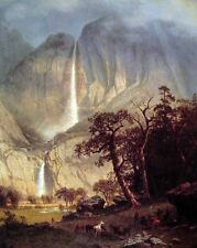 """Huge Oil painting Cho-looke The Yosemite Fall & wildlife in view on canvas 36"""""""