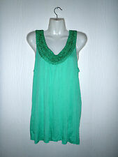 LADIES *ROCKMANS* GREEN SEQUINED SINGLET TOP MEDIUM FIT 12/14 NWT~CAN COMB POST