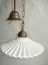 Hanging Chandelier Brass Dish White Ceramics Cooking Rustic Country