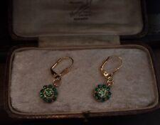 Vintage Peridot & Emerald Green Crystal & Gold Leaf Round Drop Pierced Earrings
