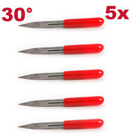 "5Pc 0.1mm 30° CNC Carving Blade Router Triangle Engraving Bits 1/8"" Shank"