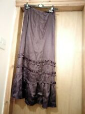 Per Una deep purple satin ruffle gypsy maxi skirt 8 10 hippy boho gypsy gothic