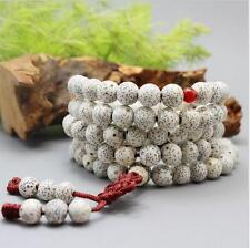 9mm Tibet Buddhism 108 White star & moon bodhi seed Prayer Bead Mala Necklace