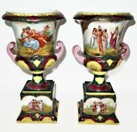 """Pair of Royal Vienna Transfer Ware Porcelain Urns Vases, 11 1/4"""" Tall"""
