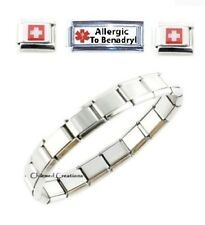 Allergic To Benadryl Caduceus Medical Alert SuperLink 9mm Italian Charm Bracelet