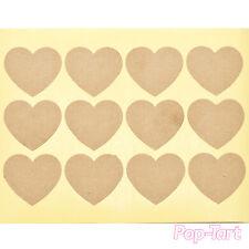 60 x Plain Kraft Heart Stickers Blank DIY Sticky Labels Crafts Wedding Favours