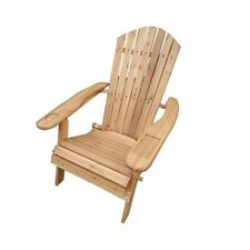 Folding Wooden Adirondack Chair - Natural Finish -Garden Outdoor Seat Chair