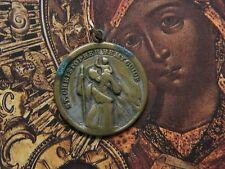 Old Vintage Protection Travel Medal Catholic St. Christopher Medal Pendant
