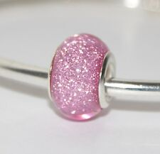 PINK GLITTER SPARKLY CHARM BEAD Silver European Charm for Bracelet