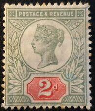 Duzik: Gb Qv Sg200 2d.green & carm. Mounted Mint stamp (No801)*
