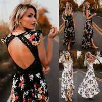 Women Summer Floral Flower Deep V Neck Sexy Backless Asymmertrical Lace Dress